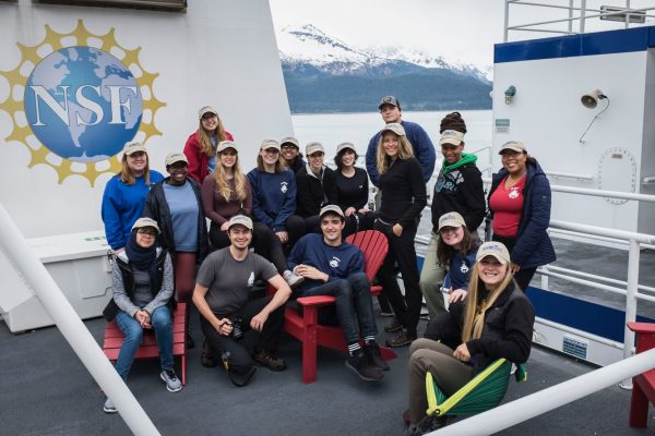 Group of student researchers on a ship